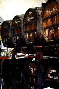 Wine Barrels in Barcelona, Spain