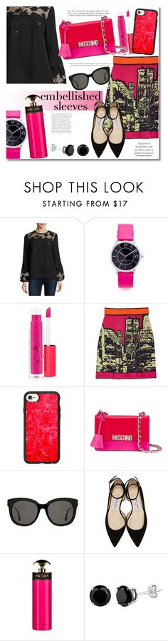 """Embellished Sleeves RP"" by vkmd ❤ liked on Polyvore featuring Victoria Beckham, Elie Tahari, Marc Jacobs, MAC Cosmetics, M Missoni, Casetify, Moschino, Gentle Monster, Jimmy Choo and Prada"