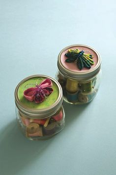 Kanzashi Butterfly Jars, from Kanzashi In Bloom