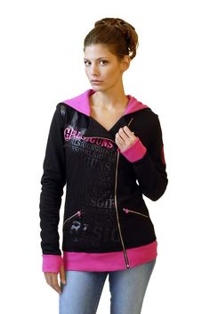 NEW - GWG Zip Hoodie: Pink and Black  We are the first dealer in Texas to carry Girls with Guns apparel. Stylish women's clothing with a shooter's and hunter's flair.