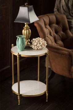 $403.00 Iron End Table with Marble Tops