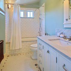 tile and deep tub.