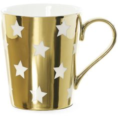 Miss Étoile Stars Coffee Mug - Gold (62 BRL) ❤ liked on Polyvore featuring home, kitchen & dining, drinkware, decoration, mugs, accessories, filler, metallic, gold mug and gold coffee mug