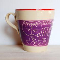 Ceramic mug Cat mug Ceramic and pottery Violet by GreetingsFromAW