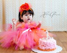 SO SWEET  by BIJOUX LIBELLULE on Etsy Birthday Tutu, Birthday Dresses, Flower Girl Gown, Girls Pageant Dresses, Pink Tutu, Orange Dress, Dress Collection, Tulle, Gowns