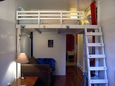 Studio Apartment Loft Bed bedroom 3 with queen-size loft bed and pull out single-bed chair