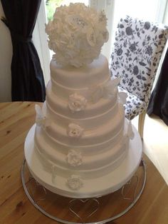 4 Tier White Wedding Cake With Topper Silky Drape Pink Roses - Wedding Cakes Wigan