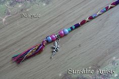 Fairytale hair wrap, hair braid, pretty pixie, fae - Pink, cerise, purple, lilac, mint green - barrel beads and Tibetan silver fairy charm by SunshineArtists on Etsy