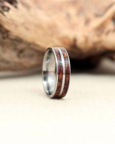 Double Inlay Wood Ring with Hawaiian Curly Koa by WedgewoodRings