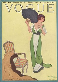 Cover of Vogue, October 15, 1911  Artful simplicity of line and grace of figure both prominent in cover artistry by Dryden and later photographs created under the glitteringly incandescent eye of editrix supreme, Diana Vreeland.