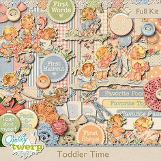 Toddler Time Digital Scrapbook Kit by quirkytwerp on Etsy Scrapbook Kit, Scrapbook Supplies, Crochet Flowers, Silk Flowers, Toddler Art, Journal Cards, Really Cool Stuff, Digital Scrapbooking, Activities For Kids