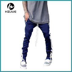 77afb9a17b86d3 2017 Lengthened Section Sweatpants Men Occident Retro Hip Hop Trousers Side  Zipper Hit Color Unisex Casual