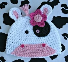 Amigurumi Animal Cute Cow Hat Crochet Pattern