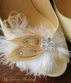 Bleached peacock feather shoe clip by amber