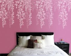 Tree Stencil, Bedroom Wall Stencil, Cherry Blossom Stencil, Wall Stencil For bedroom Wall Stencil Designs, Bedroom Wall Designs, Wall Stencil Patterns, Damask Stencil, Bedroom Decor, Baby Bedroom, Stencil Painting On Walls, Stencils For Walls, Tree Stencil For Wall