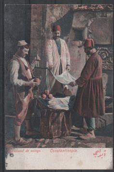 1900's TURKEY OTTOMAN ISTANBUL QUINCE FRUIT SELLER