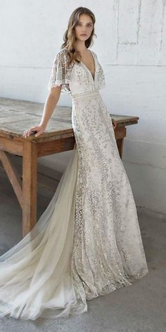 24 Vintage Wedding Dresses You Never See is part of Wedding dress guide - Vintage wedding dresses never lose popularity This magical era has the most romantic style Chiffon, pearls are the iconic elements of this period Country Wedding Dresses, Black Wedding Dresses, Princess Wedding Dresses, Bridal Dresses, Evening Dresses For Weddings, Indian White Wedding Dress, Civil Wedding Dresses, Spring Weddings, Wedding Outfits