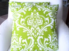 Pillows Decorative Pillows Accent Pillows Throw Pillow Cushion Covers Lime Green White Damask BOTH SIDES - Pair of Two 16 x 16. $32.00, via Etsy.
