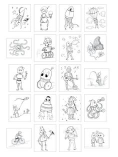 Robot Coloring Book, Robots & Cyborgs to Color, Cute Mechanical Coloring Pages, Robot Gift Robot Clipart, Coloring Books, Coloring Pages, Bound Book, Artwork Images, Cyborgs, To Color, Tentacle, Robots