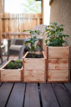 Stacked Wooden Box Garden Great idea for the home or kitchen. This both beautifies the environment an suits ur domestic needs. Go green!