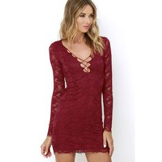 Entwine and Dine Wine Red Lace Dress ($49) ❤ liked on Polyvore featuring dresses