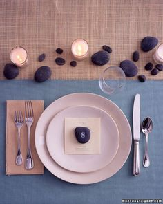 table number ideas on rocks