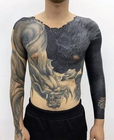 Dragon White Ink All Black Guys Chest And Sleeve Tattoos