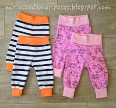 mi rincón de mariposas: Pantalón Ona (0-3 meses): patrones