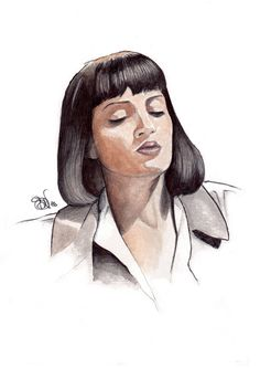 Uma Thurman in Pulp Fiction. Art by SDV. #pulpfiction #watercolor #miawallace