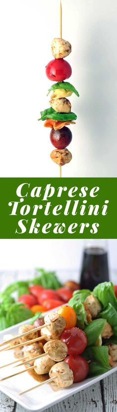 Caprese Tortellini Skewers are a fun appetizer on a stick! Perfect for parties and barbecues. | honeyandbirch.com
