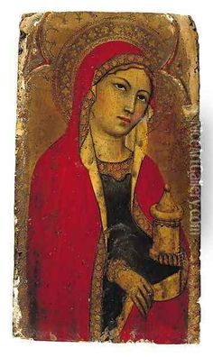 Saint Mary Magdalene a fragment from an altarpiece Oil Painting - Taddeo Di Bartolo