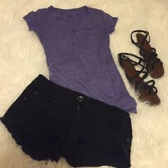 Purple V-Neck Barely worn. Great shape! Wet Seal Tops Tees - Short Sleeve