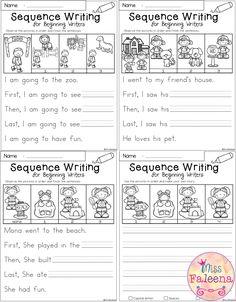 Sequencing Worksheets for Kindergarten. 24 Sequencing Worksheets for Kindergarten. March Sequence Writing for Beginning Writers Kindergarten Writing Prompts, Teaching Writing, Kindergarten Worksheets, Writing Skills, First Grade Writing Prompts, Kindergarten Goals, Teaching Skills, Writing Lessons, Writing Practice