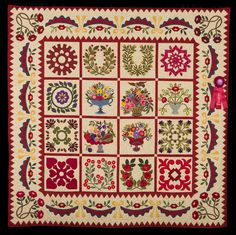 2nd Place, Category 6, Wall Quilts, Hand Quilted Any Type: Summer's Bounty, Nancy Whitton, Fremont, Wis. wiquiltexpo.com