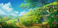 Once Upon A Time In Hobbiton by ~DaleComte -- Absolutely brilliant illustration of Bag End! Full view is a must!