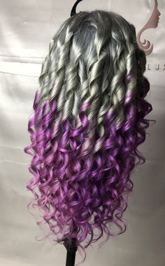 Silver and purple lace front wig made by Hairluxe. Colored Weave, Colored Wigs, Sew In Weave Hairstyles, Wig Hairstyles, Blonde Color, Hair Color, Hair Styles With Color, Lace Front Wigs, Lace Wigs