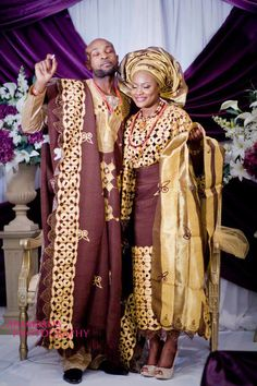Nigerian wedding, adorable dressing alike from the beginning Nigerian Wedding Dress, African Wedding Attire, Nigerian Weddings, African Attire, African Wear, African Dress, African Fashion, African Weddings, African Beauty