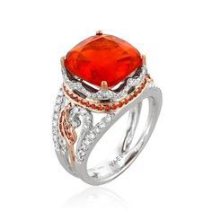 Crux ring with a 4.97ct fire opal accented with orange sapphires and diamonds by YAEL DESIGNS