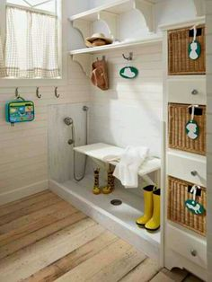 Mudroom and dog washing area.