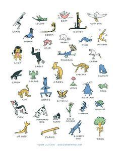 Everybody Yoga! art print (Yoga poses) in 2020 Two People Yoga Poses, Yoga Poses Names, Yoga Poses For Back, Kids Yoga Poses, Yoga For Back Pain, Yoga For Kids, Yoga Beginners, Meditation For Beginners, Beginner Yoga