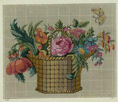 Antike Stickvorlage: handcolorierter Kupferstich, um 1850 : Blumenkorb   eBay