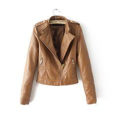 Novo 2015 outono inverno das mulheres marrom bombardeiro jaquetas de couro da motocicleta mulheres 2 cores marca jaqueta jaqueta de couro revestimento das mulheres em Couro e Camurça de Roupas e Acessórios Femininos no AliExpress.com | Alibaba Group