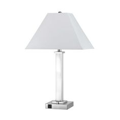 Oda White USB Port Table Lamp With Power Outlets