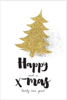Stoere verhuis- kerstkaart met goudlook. Stoere handlettering en kerstboom in goudglinster look. Geen echte goud folie- maar druk.