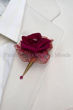Boutonniere with mesh backing Flowers For Men, Prom Flowers, Bridal Flowers, Garnet Wedding, Plum Wedding, Floral Wedding, Wedding Cake, Flower Corsage, Wrist Corsage