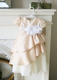 Baptism dress or Blessing dress pr flower girl dress. Silk and Chiffon pleated layered dress with flower cluster and sash. Comes in all white or ivory. I was inspired by a dress by David Tutera. So pretty! :)