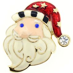 @Overstock - Christmas Santa Claus Pin Christmas Pin Brooch - This Christmas Santa Clause brooch pin features a white crystal in Santa's hat complemented by two sparkling blue jewels for his eyes. This base metal pin is complete with an antiqued finish.  http://www.overstock.com/Jewelry-Watches/Christmas-Santa-Claus-Pin-Christmas-Pin-Brooch/8570072/product.html?CID=214117 $12.89