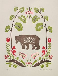 Folksy bear illustrated and letterpress printed on 100% cotton paper    red, chocolate brown, and chartreuse ink colors    size 11 X 14