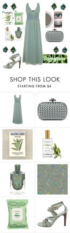 """""""Sage green gown"""" by greensparkle1 ❤ liked on Polyvore featuring Little Mistress, Bottega Veneta, Demeter Fragrance Library, Timorous Beasties, Burt's Bees and Burberry"""