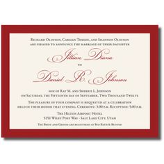Red Color Wedding Invitations One Sided Colorful Wedding Invitations, Affordable Wedding Invitations, Wedding Invitation Samples, Invitation Card Design, Fun Wedding Invitations, Wedding Cards, Wedding Colors, Wedding Announcements, One Sided